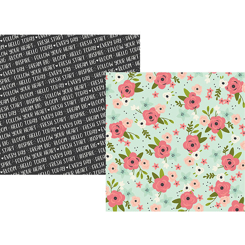 Simple Stories - Bloom Collection - 12 x 12 Double Sided Paper - Inspired