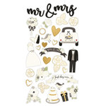 Simple Stories - Always and Forever Collection - Chipboard Stickers with Foil Accents