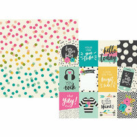 Simple Stories - Good Vibes Collection - 12 x 12 Double Sided Paper - 3 x 4 Elements