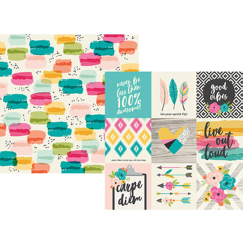 Simple Stories - Good Vibes Collection - 12 x 12 Double Sided Paper - 4 x 4 Elements