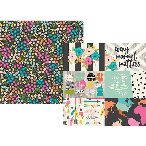 Simple Stories - Good Vibes Collection - 12 x 12 Double Sided Paper - 4 x 6 Horizontal Elements