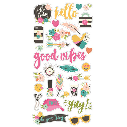 Simple Stories - Good Vibes Collection - Chipboard Stickers