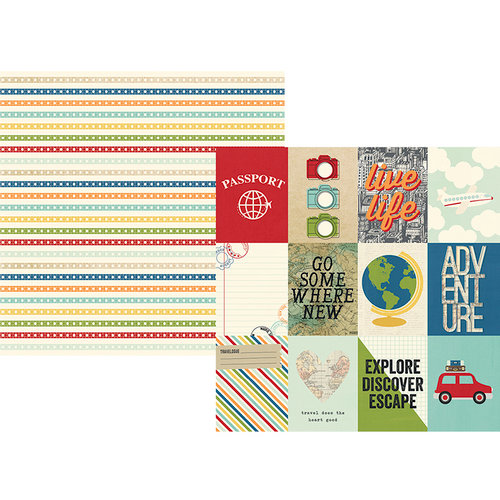 Simple Stories - Travel Notes Collection - 12 x 12 Double Sided Paper - 3 x 4 Elements