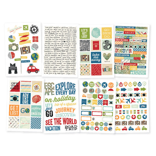 Simple Stories - Travel Notes Collection - Cardstock Stickers