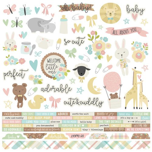Simple Stories - Oh, Baby Collection - 12 x 12 Cardstock Stickers - Combo