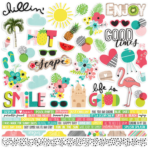 Simple Stories - Hello Summer Collection - 12 x 12 Cardstock Stickers - Combo
