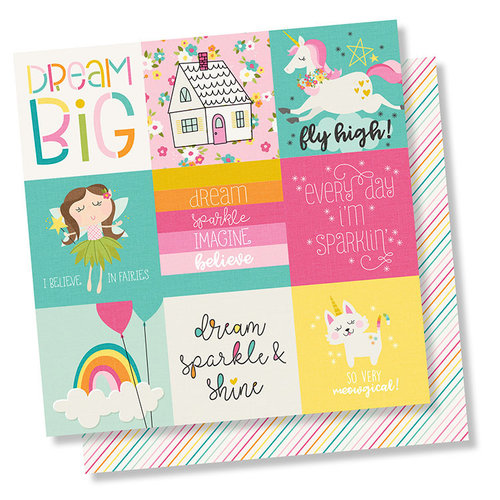 Simple Stories - Dream Big Collection - 12 x 12 Double Sided Paper - 4 x 4 Elements