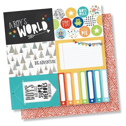 Simple Stories - Lil' Dude Collection - 12 x 12 Double Sided Paper - 4 x 6 Elements