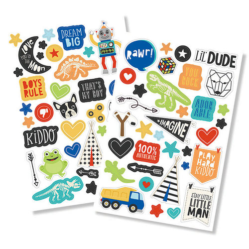 Simple Stories - Lil' Dude Collection - Puffy Stickers