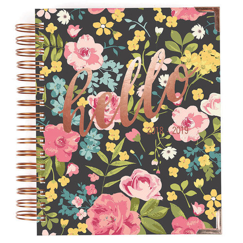 Simple Stories - Carpe Diem - Hello Collection - 17 Month Weekly Spiral Planner with Rose Gold Foil Accents - Aug. 2018 to Dec. 2019