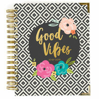 Carpe Diem - Good Vibes Collection - 17 Month Weekly Spiral Planner with Gold Foil Accents - Aug. 2018 to Dec. 2019