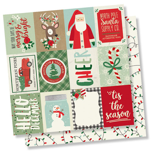 Simple Stories - Merry and Bright Collection - Christmas - 12 x 12 Double Sided Paper - 3 x 4 Elements