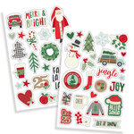 Simple Stories - Merry and Bright Collection - Christmas - Puffy Stickers