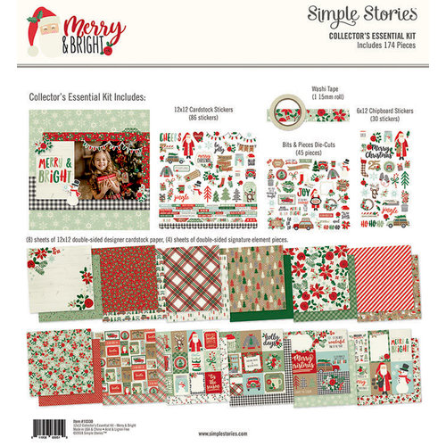Simple Stories - Merry and Bright Collection - Christmas - 12 x 12 Collector's Essential Kit