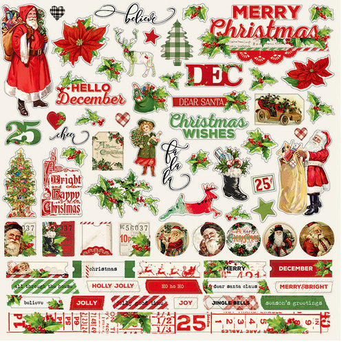 Simple Stories - Simple Vintage Christmas Collection - 12 x 12 Cardstock Stickers - Combo