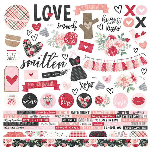 Simple Stories - Kissing Booth Collection - 12 x 12 Cardstock Stickers - Combo