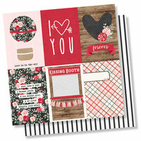 Simple Stories - Kissing Booth Collection - 12 x 12 Double Sided Paper - 4 x 6 Vertical Elements
