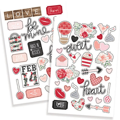 Simple Stories - Kissing Booth Collection - Puffy Stickers