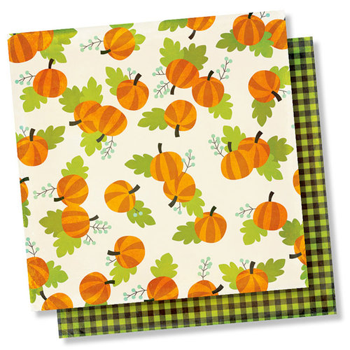 Simple Stories - Happy Halloween Collection - 12 x 12 Double Sided Paper - Pumpkin Patch