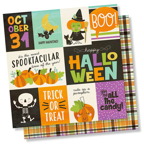 Simple Stories - Happy Halloween Collection - 12 x 12 Double Sided Paper - 3 x 4 and 4 x 6 Elements
