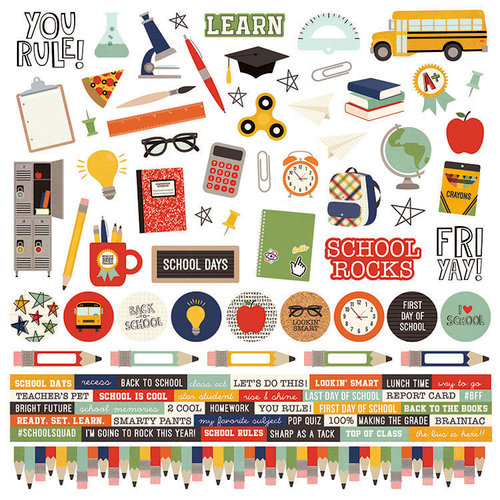 Simple Stories - School Rocks Collection - 12 x 12 Cardstock Stickers - Combo
