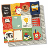 Simple Stories - School Rocks Collection - 12 x 12 Double Sided Paper - 3 x 4 Elements