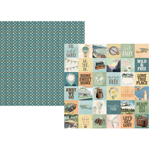 Simple Stories - Simple Vintage Traveler Collection - 12 x 12 Double Sided Paper - 2 x 2 Elements