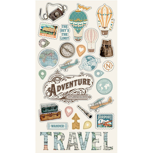 Simple Stories - Simple Vintage Traveler Collection - Chipboard Stickers