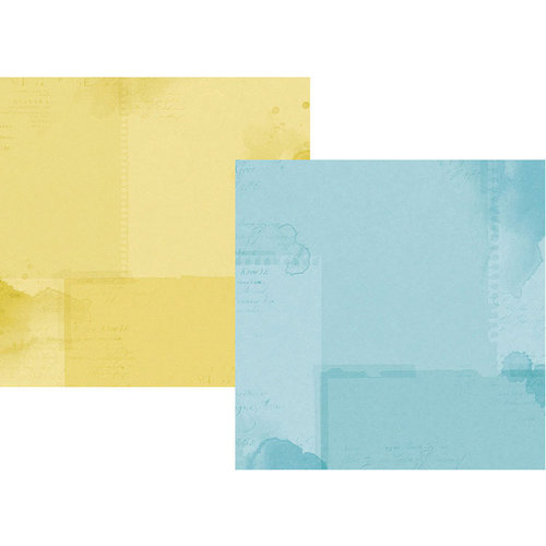 Simple Stories - Simple Vintage Botanicals Collection - 12 x 12 Double Sided Paper - Light Blue and Yellow