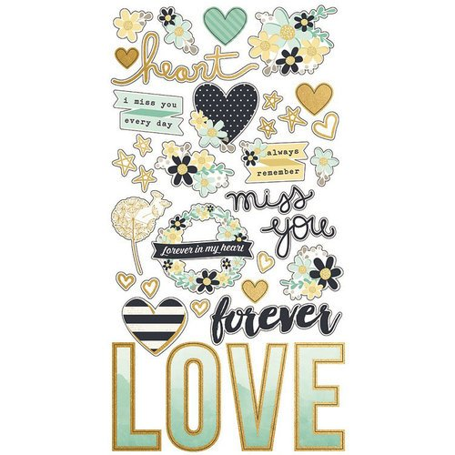 Simple Stories - Heart Collection - Chipboard Stickers with Foil Accents