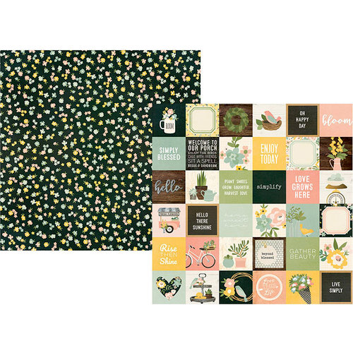 Simple Stories - Spring Farmhouse Collection - 12 x 12 Double Sided Paper - 2 x 2 Elements