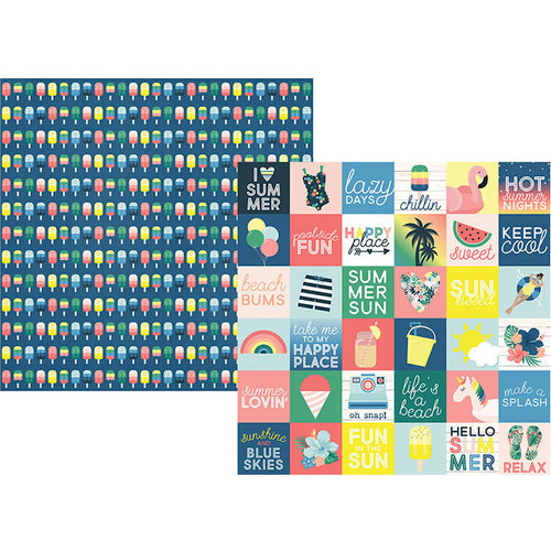 Simple Stories - Sunshine and Blue Skies Collection - 12 x 12 Double Sided Paper - 2 x 2 Elements