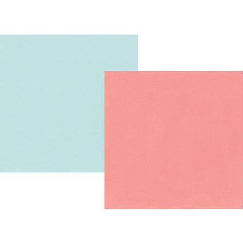 Simple Stories - Sunshine and Blue Skies Collection - 12 x 12 Double Sided Paper - Salmon and Sky Blue