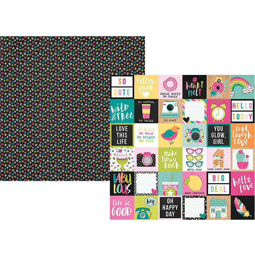 Simple Stories - Oh Happy Day Collection - 12 x 12 Double Sided Paper - 2 x 2 Elements