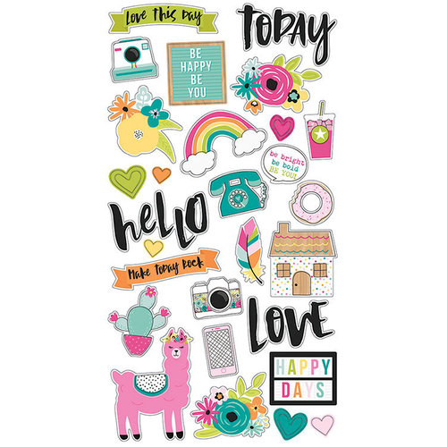 Simple Stories - Oh, Happy Day Collection - Chipboard Stickers
