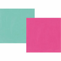 Simple Stories - Oh Happy Day Collection - 12 x 12 Double Sided Paper - Fuchsia and Turquoise