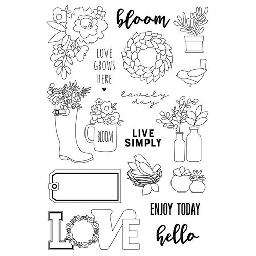Simple Stories - Spring Farmhouse Collection - Clear Photopolymer Stamps - Live Simply