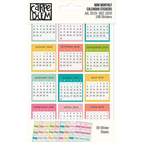 Carpe Diem - Home Collection - Cardstock Stickers - Mini Monthly Calendar - July 2019 to Dec. 2020