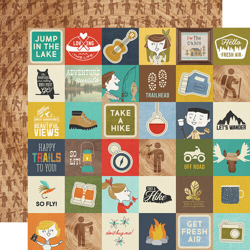 Simple Stories - Happy Trails Collection - 12 x 12 Double Sided Paper - 2 x 2 Elements