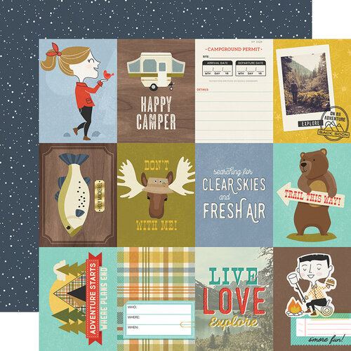 Simple Stories - Happy Trails Collection - 12 x 12 Double Sided Paper - 3 x 4 Elements