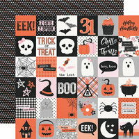 Simple Stories - Happy Haunting Collection - 12 x 12 Double Sided Paper - 2 x 2 Elements