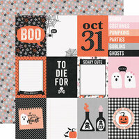 Simple Stories - Happy Haunting Collection - 12 x 12 Double Sided Paper - 3 x 4 Elements