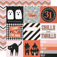 Simple Stories - Happy Haunting Collection - 12 x 12 Double Sided Paper - 4 x 4 Elements