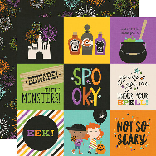 Simple Stories - Say Cheese Halloween Collection - 12 x 12 Double Sided Paper - 4 x 4 Elements