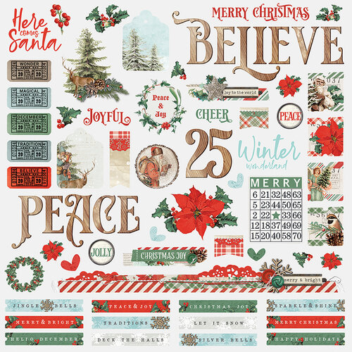 Simple Stories - Country Christmas Collection - 12 x 12 Combo Sticker