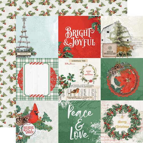 Simple Stories - Country Christmas Collection - 12 x 12 Double Sided Paper - 4 x 4 Elements