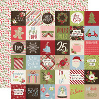 Simple Stories - Christmas - Holly Jolly Collection - 12 x 12 Double Sided Paper - 2 x 2 Elements
