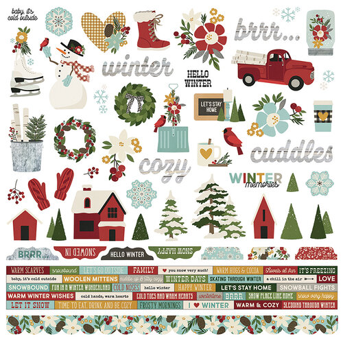 Simple Stories - Winter Farmhouse Collection - Combo Sticker