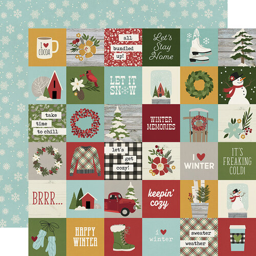 Simple Stories - Winter Farmhouse Collection - 12 x 12 Double Sided Paper - 2 x 2 Elements