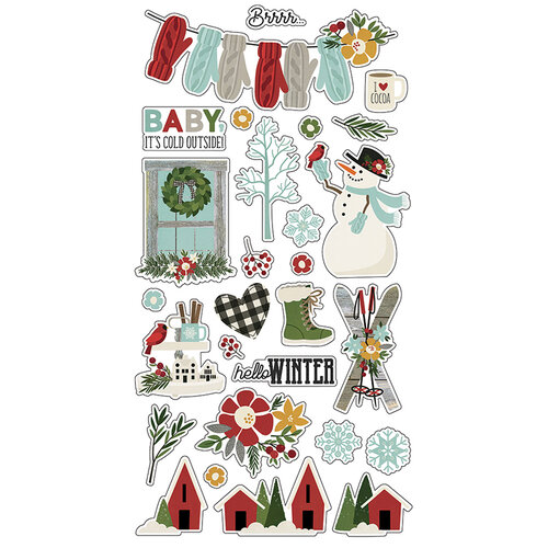 Simple Stories - Winter Farmhouse Collection - Chipboard Stickers
